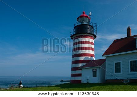 Candy Cane Lighthouse in Maine