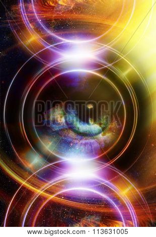 Woman Eye and cosmic space with stars and yellow light, and music speaker silhouette. abstract color
