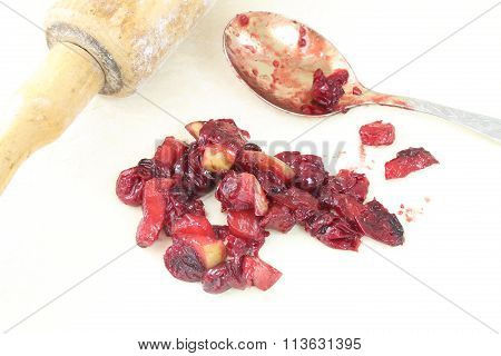 Preparation Of An Is Apple-cherry Pie (strudel)