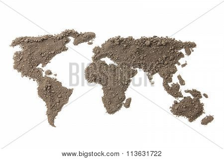 Photo map of the world from the soil isolated on white background