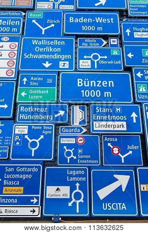 Display of the traffic signs at the exterior wall of the Swiss Museum of Transport in Lucerne.