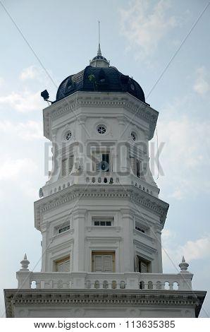 Minaret of Sultan Abu Bakar State Mosque in Johor Bharu, Malaysia