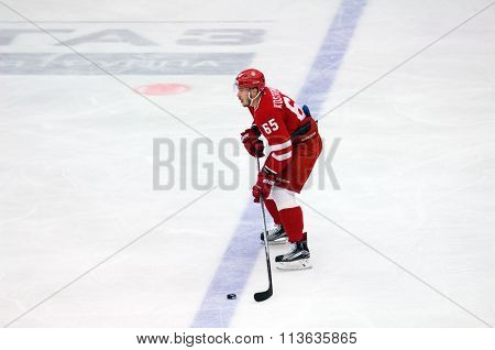 PODOLSK - NOVEMBER 21 2015: during hockey game Vityaz vs Torpedo on Russia KHL championship in Vutyaz ice arena Podolsk Russia. Torpedo won 4:3
