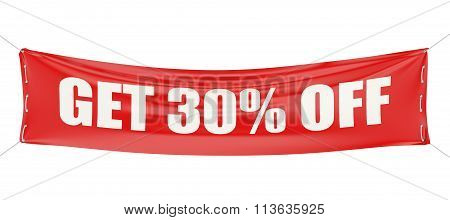 Discount Get 30 % Off Concept On The Red Banner