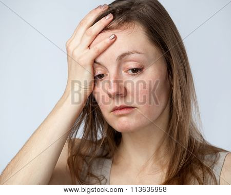 Portrait Of A Sad Woman, Hand On The Forehead