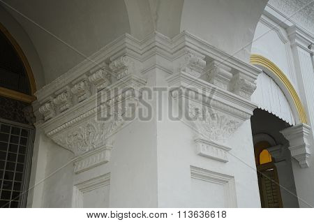 Architectural detail at Sultan Abu Bakar State Mosque in Johor Bharu, Malaysia
