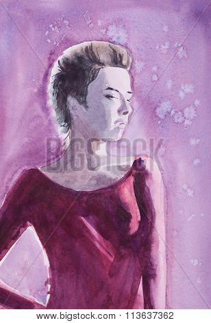 Watercolor Portrait Of Teen Girl  On Winter Snowy Night Sky