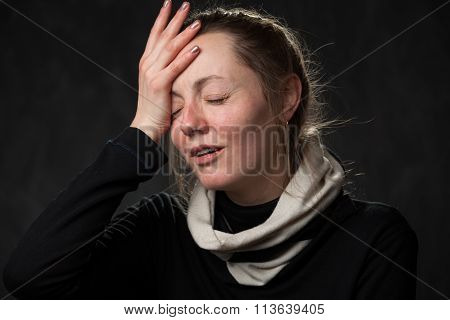 Pale Tired Woman With Closed Eyes