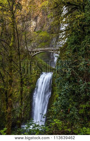 scenic view of historic and iconic multnomah falls in oregon