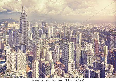 Vintage Stylized Photo Of Kuala Lumuer Skyline, Malaysia