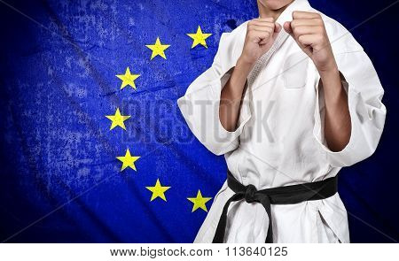 Karate Fighter And European Union Flag