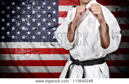 Karate Fighter And American Flag