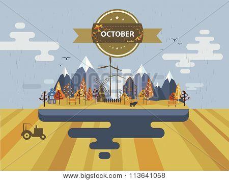 Autumn landscape. Small town