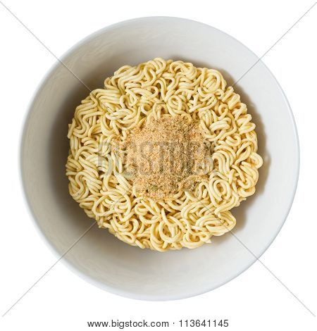 Bowl Of Instant Noodles With Seasoning Powder On White