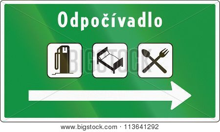 Road Sign Used In Slovakia - Odpocivadlo Means Rest Area