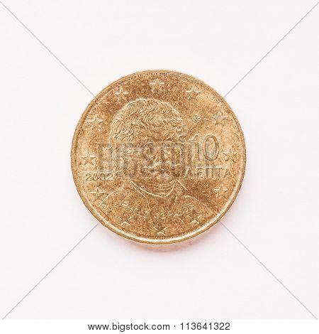 Greek 10 Cent Coin Vintage