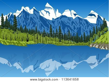 idyllic summer landscape in the Alps with clear mountain lake