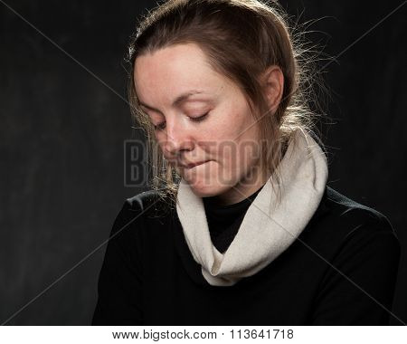 Portrait Of A Young Sad Woman