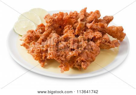 Plate Of Thai Traditional Food Fried Chicken Skins