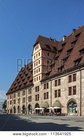 NUREMBERG, GERMANY - AUGUST 23, 2015: The Former Customs House (Mauthalle) was built as a grain and salt storehouse and served as imperial city weigh house and customs house from 1572 until 1897
