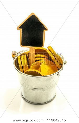 Metal Bucket With Gold Coins And Wooden House