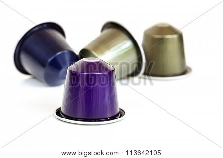 Coffee capsules, isolated on white background.