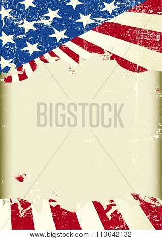 A grunge american poster with a frame for your message