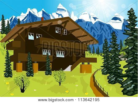 wooden chalet in mountain alps at rural summer landscape
