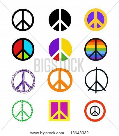 Set of peace signs. Colorful symbols in different styles.