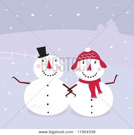 Winter day: Snowman & Snow - woman, cute snowy couple