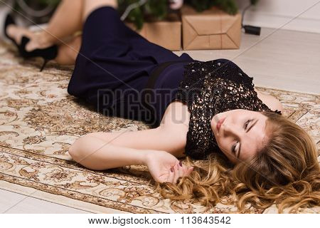 Sensual Young Lady In In Boudoir.