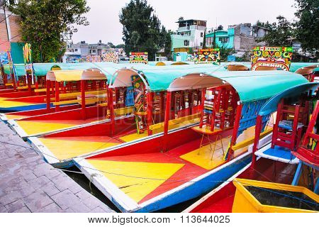 Row of boats in Xochimilco, Mexico city. Latin America.