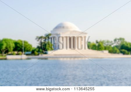 Defocused Background Of Jefferson Memorial In Washington Dc, Usa