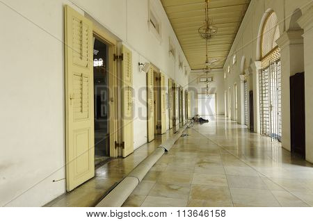 Interior of Sultan Abu Bakar State Mosque in Johor Bharu, Malaysia