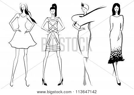 Fashion models.Sketch. Set of vector women or girls.