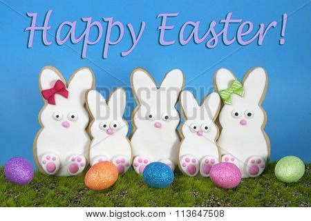 Easter Bunny Cookies decorated sitting in grass with blue background