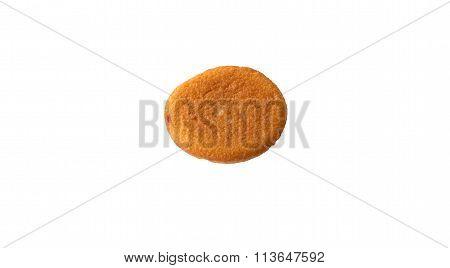 Custard cake on white background