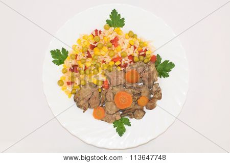 Top view of Hawaiian mixed vegetables on a white plate
