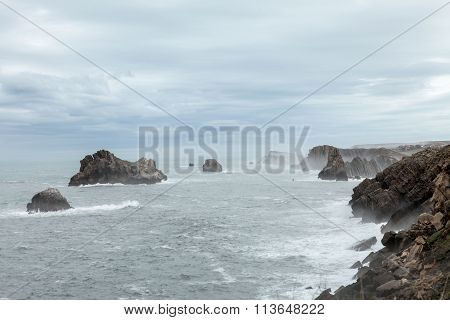 The beach of  Somocuevas in Liencres, Cantabria, Spain