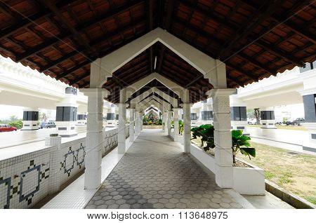 Pedestrian walkway at Sultan Abu Bakar State Mosque in Johor Bharu, Malaysia