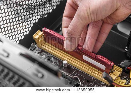 Computer memory installation.