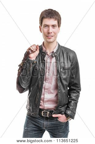 Young man in leather jacket.