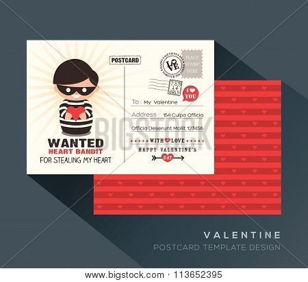Cute Red Valentine Postcard Card Design