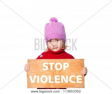 Girl Holding Board With Text Stop Violence.