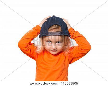 Little Funny Girl In Baseball Cap And Orange Blouse