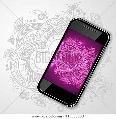 Mobile telephone with Zen-doodle Heart frame in  lilac  pink