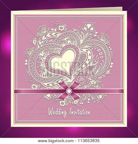 Wedding invitation with Zen-doodle Heart frame flowers bow ribbon in lilac