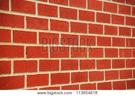 red brick wall perspective view