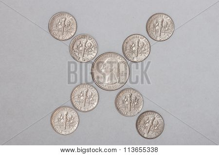 Coins in an X Pattern