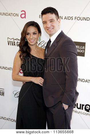 JC Chasez and Kathryn Smith at the 21st Annual Elton John AIDS Foundation Academy Awards Viewing Party held at the West Hollywood Park in Los Angeles, USA on February 24, 2013.